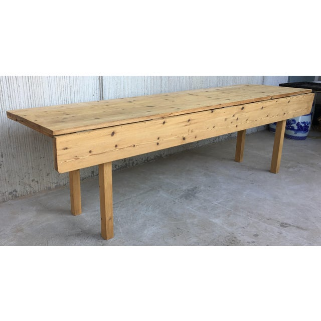 Country 20th Century Midcentury Large Pine Drop-Leaf Country Farm Table With Two Leaves For Sale - Image 3 of 12