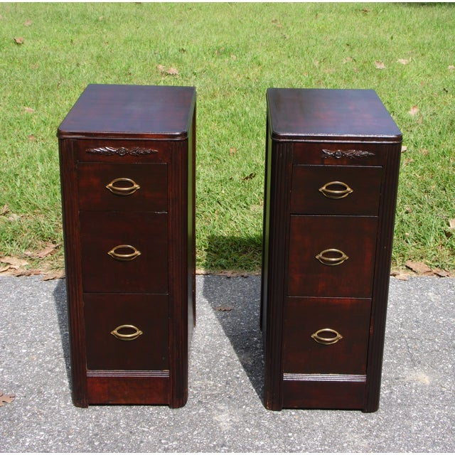 Antique Pair Art Deco Walnut Nightstands End Tables Bedroom Stands c. 1920-30's. Features ample space with 3 large...