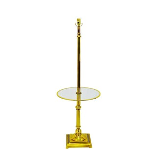 Vintage Mid Century Glass Table Top Brass Floor Lamp For Sale