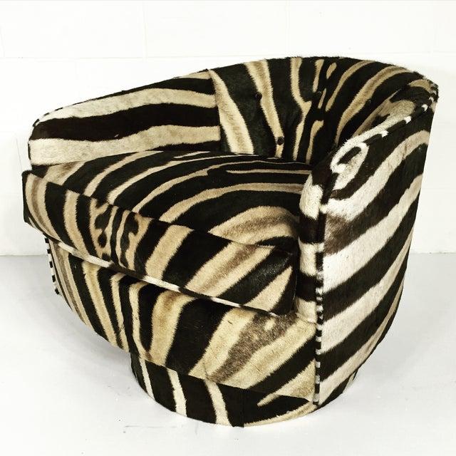 Milo Baughman Swivel Tilt Zebra Club Chairs - Pair - Image 3 of 7
