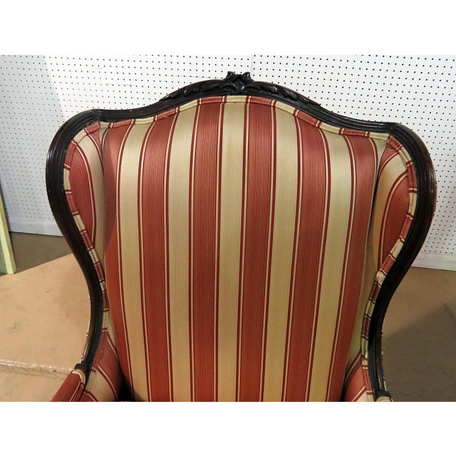 Wood Louis XV Style Wingback Chairs - a Pair For Sale - Image 7 of 13
