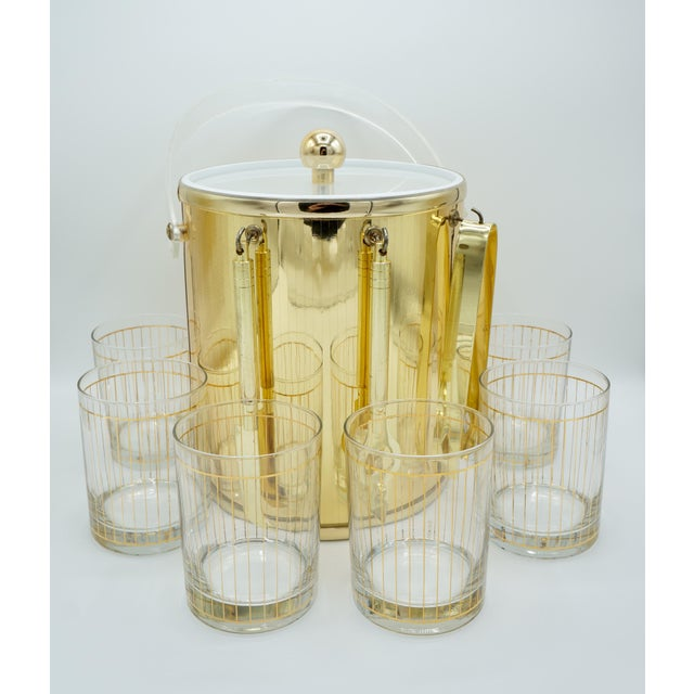 Golden Pinstriped Low Ball Cocktail Glasses (6) & Champagne Bucket With Bar Tools For Sale - Image 12 of 13