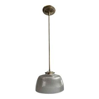 1920s Holophane 9.5 In. Shade Brass Kitchen Pendant Light For Sale
