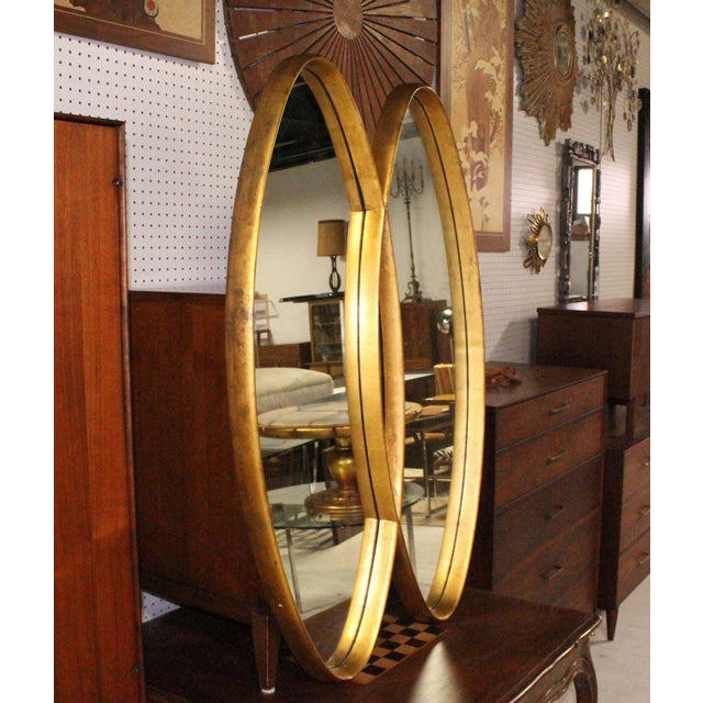 Dual Interlocking Oval Gold Frame Mirror For Sale - Image 9 of 10