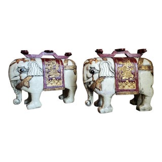 Vintage Chinese Parcel Gilt Painted Elephant Statues - a Pair For Sale