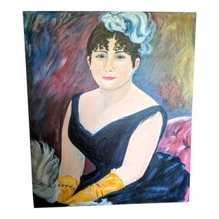 Acrylic Portrait of a Flapper Woman on Canvas For Sale