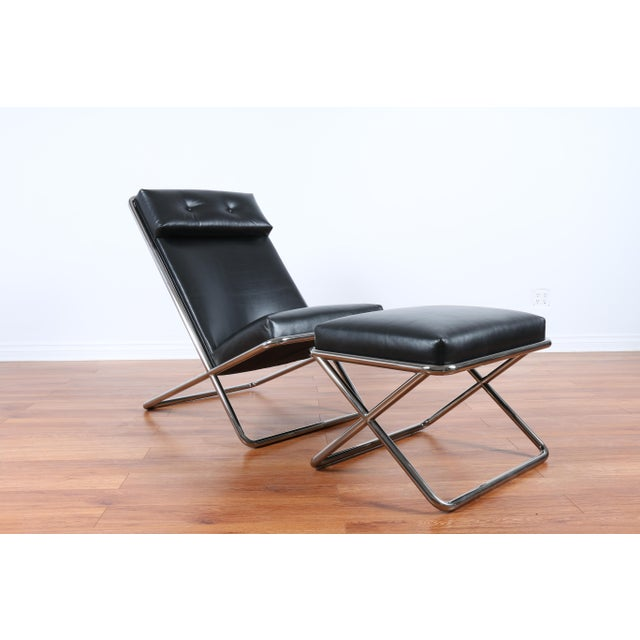 Ward Bennet Style Chrome and Leather Lounge Chair For Sale - Image 5 of 8