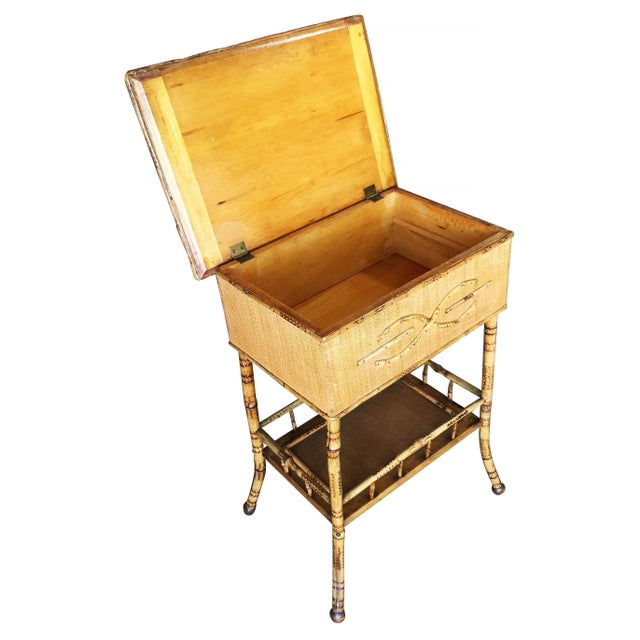 Restored Antique Tiger Bamboo Pedestal With Storage Box For Sale - Image 4 of 5