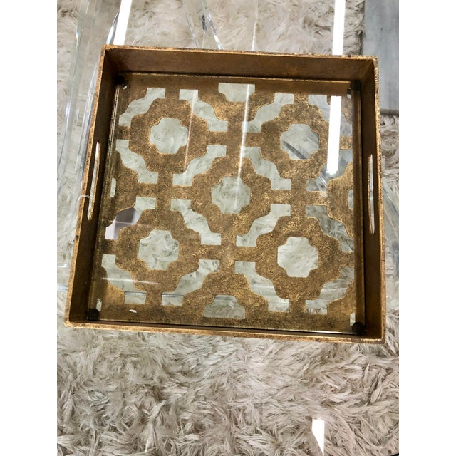 2010s Contemporary Gold Metal and Glass Tray For Sale - Image 5 of 6