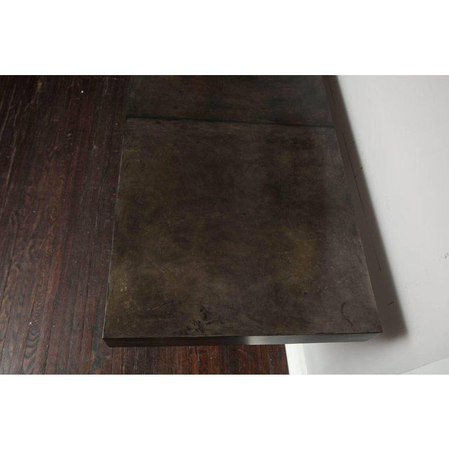 Red Custom Charcoal Goatskin Console with Umber Gold Leaf For Sale - Image 8 of 9