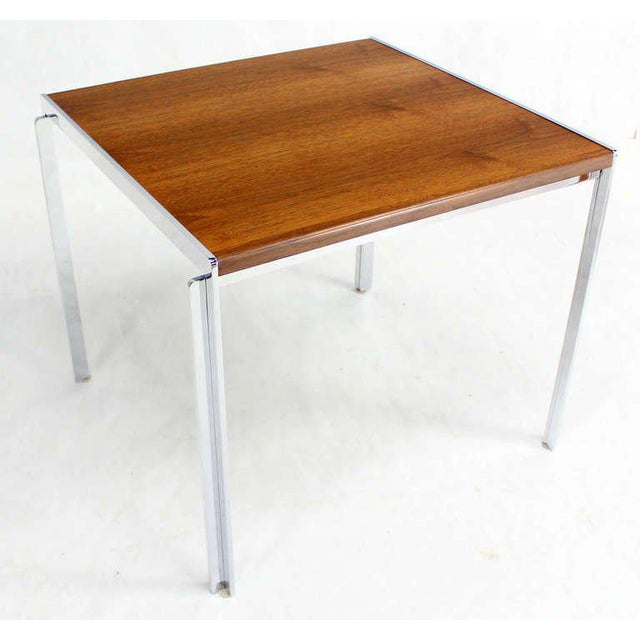 Mid-Century Modern Stow Davis Walnut and Chrome Coffee Table For Sale - Image 11 of 11