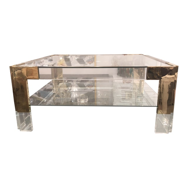 Vintage Lucite Brass 2 Tier Coffee Cocktail Table For Sale - Image 12 of 12