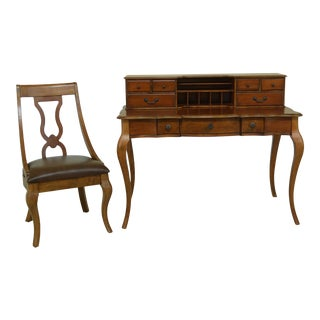 French Louis XV Style Cherry Writing Desk & Chair For Sale