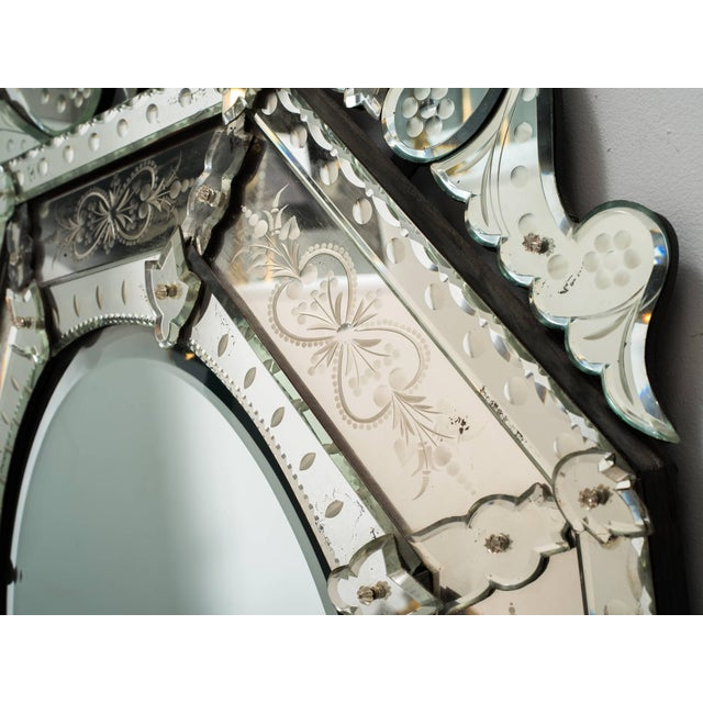 1930s Octagonal Venetian Mirror With Crown For Sale - Image 4 of 10