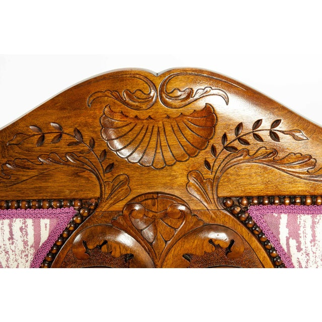 Mid-19th Century Hand Carved Mahogany Victorian Style Settee For Sale - Image 11 of 13