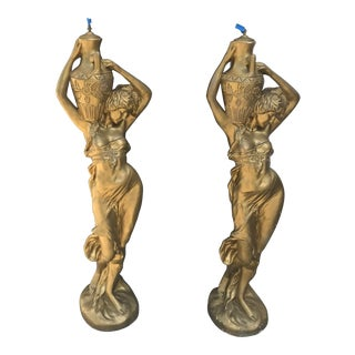 Vintage Golden Plaster Life Size Lady Lamps - A Pair For Sale