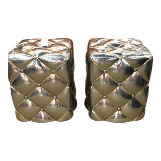 Vintage Pair of Metal Welded Tufts Ottomans Poufs Foot Stools Silver Gold Industrial For Sale