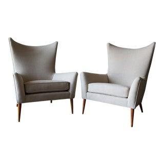 1950s Vintage Paul McCobb Model 3015 Wingback Lounge Chairs- A Pair For Sale