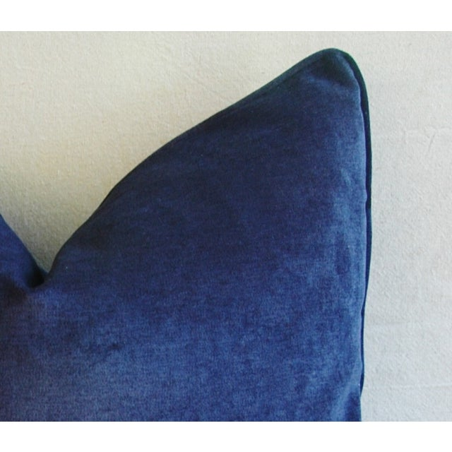 Large Designer Midnight Blue Velvet Feather/Down Pillows - Pair For Sale - Image 10 of 10