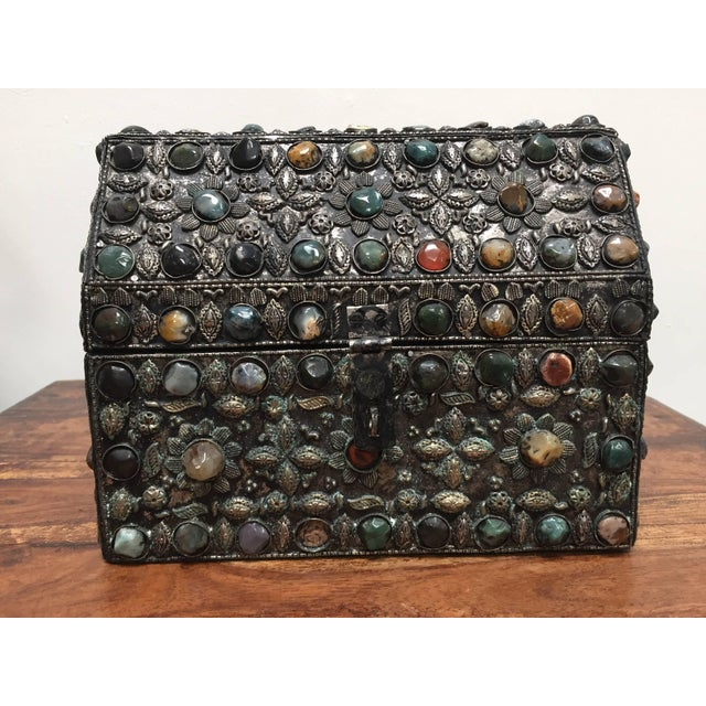 Large Moroccan Wedding Silvered Jewelry Box Inlaid With Semi-Precious Stones For Sale - Image 11 of 13