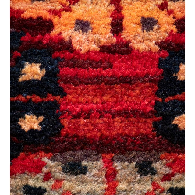 Red Mid 20th Century Vintage Floral Tomato-Red Handwoven Wool Turkish Rug For Sale - Image 8 of 9