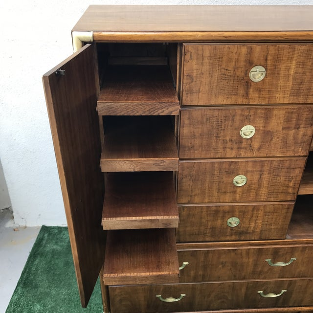 Drexel Accolade Campaign Highboy Dresser For Sale In Los Angeles - Image 6 of 9