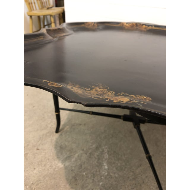 19th Century Regency Papier-Mache Tray on Stand For Sale - Image 10 of 12