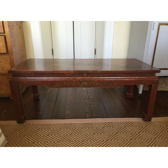 Chinoiserie Red Lacquer Cocktail Table - Image 2 of 7