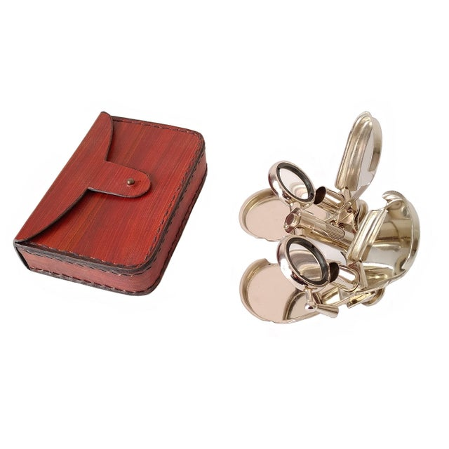 French Vintage Nickel Plated Brass Folding Binoculars with Leather Case For Sale - Image 3 of 6