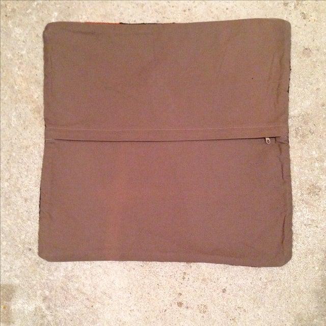 Vintage Maroon & Brown Kilim Pillow Case - Image 5 of 5