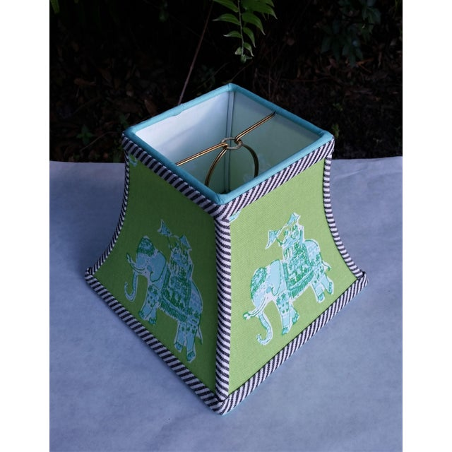 Children's Green Lilly Pulitzer Fabric Clip on Coastal Elephant Lampshade For Sale - Image 3 of 11