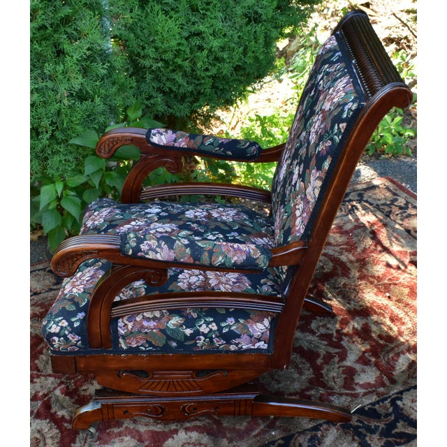 Early 19th Century 19th Century Antique Victorian Eastlake Mahogany Rocking Chair New Upholstery For Sale - Image 5 of 13