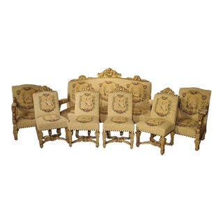 Rare Seven-Piece Louis XIV Style Giltwood Chateau Salon Suite From France, Circa 1880 For Sale