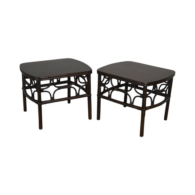 Vintage Rattan Pair Side Tables For Sale