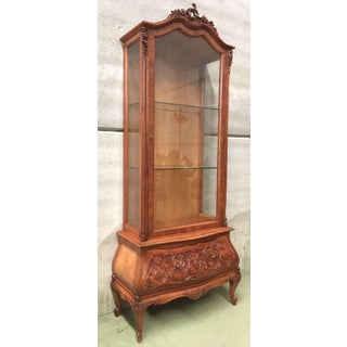 19th Century Dutch Burl Walnut and Carved Cabinet With Glass Door and Drawer Preview