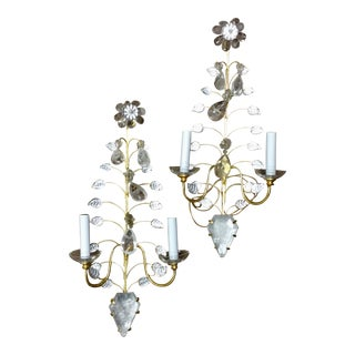 Pair of Bagues Style Glass and Crystal Form Sconces For Sale