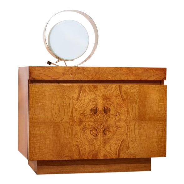 Vintage circa 1970s book-matched burl olive wood nightstands. Features one spacious drawer and one pull out formica...