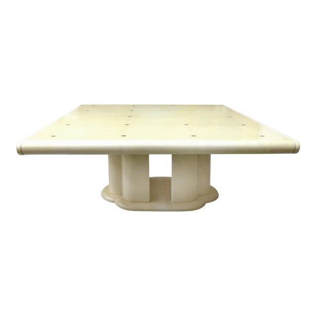 """Mid-Century Karl Springer Style 60"""" Square Goatskin Dining Table For Sale"""