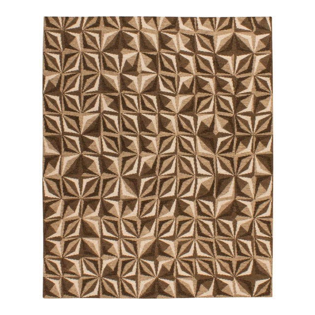 Solo Rugs Grit and Ground Collection Contemporary Samoa Hand-Knotted Flatweave Area Rug, Brown, 8' X 10' For Sale