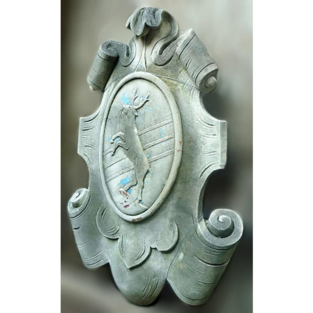 Baroque Early 20th Century Italian Baroque Style Cast Limestone Cartouche of a Rearing Stag For Sale - Image 3 of 4