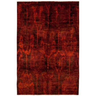 "Moroccan Hand Knotted Area Red Wool Rug - 6'0"" X 9'0"" For Sale"