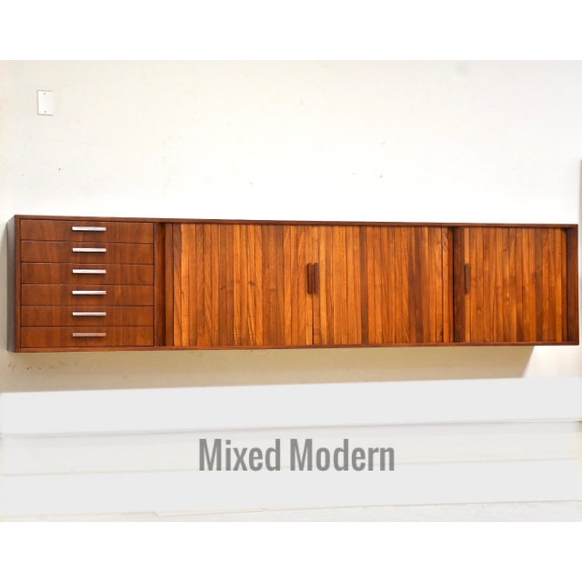 """108"""" Floating Walnut Tambour Credenza by Furnette For Sale - Image 12 of 12"""