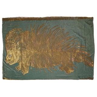 Porcupine Silk Velvet Pillow For Sale