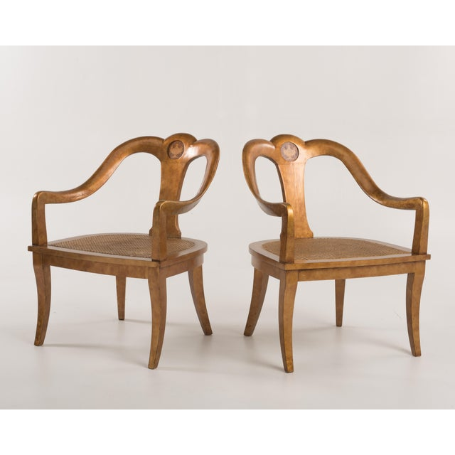 Late 19th Century Antique Regency Spoon Back Armchairs Gold Gilt Cane Urn Inlay - a Pair For Sale - Image 5 of 13
