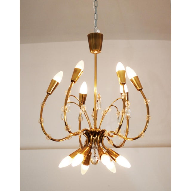 Gold Mid-Century Brass Chandelier by Emil Stehnar for Rupert Nikoll For Sale - Image 8 of 8