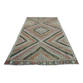 1960s Vintage Turkish Oushak Kilim Embroidered Rug For Sale