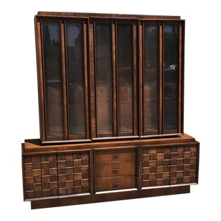 Mid-Century Brutalist 2 Piece China Hutch For Sale
