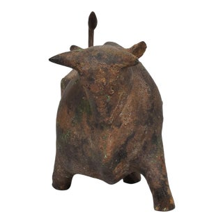 Mid-Century Modern Japanese Iron Bull Table Sculpture For Sale