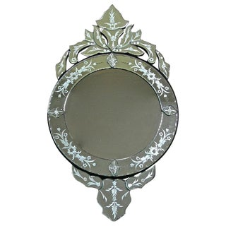 1960s Italian Etched Glass Circular Wall Mirror For Sale