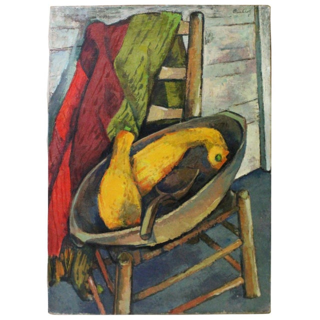 Mid 20th Century Vintage Mid-Century Buchholz Antiques and Summer Squash Oil Painting For Sale - Image 5 of 5
